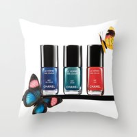 nail polish Throw Pillows featuring Butterflies & Nail Polish  by Luxe Glam Decor
