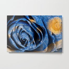 Starry Night Rose Metal Print