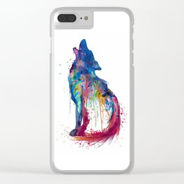 Howling Wolf Watercolor Silhouette Clear iPhone Case