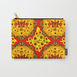 LACY RED-GOLD YELLOW SUNFLOWERS & MONARCH BUTTERFLIES Carry-All Pouch