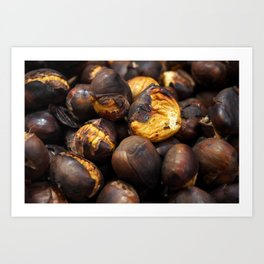 Food. Roasted chestnuts. Art Print