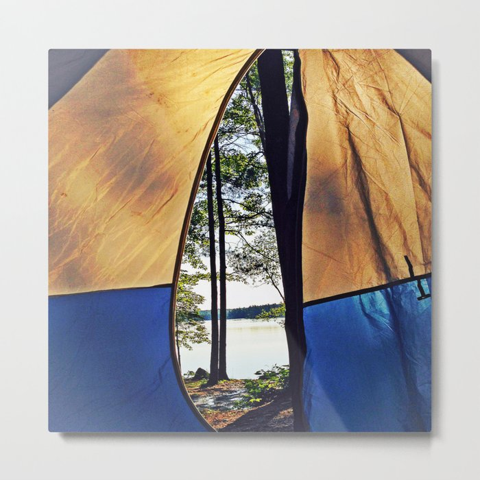 Tent Opening at Lake Pemaquid Campground in Damariscotta, Maine Metal Print