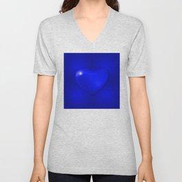 Blue heart on blue background Unisex V-Neck