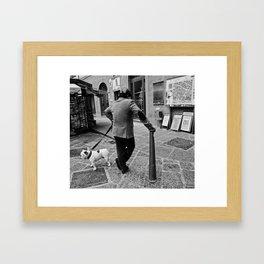 Man with a dog Framed Art Print