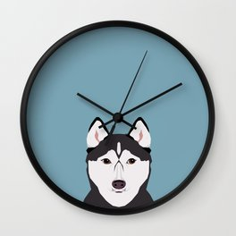 Shiloh - Husky Siberian Husky dog art phone case perfect gift for dog people Wall Clock