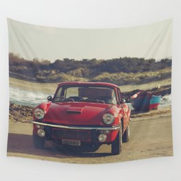 Triumph Spitfire by the sea, with ship, fine art photo, british car, sports car, color, high definit Wall Tapestry