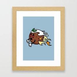 Flying Zombie Christmas Pudding Framed Art Print