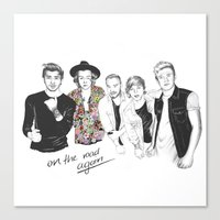 one direction Canvas Prints featuring One Direction by Stephanie Recking