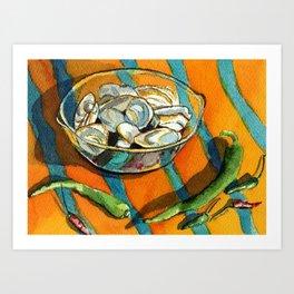 Clams & Chiles on Stripes Art Print