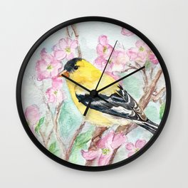Goldfinch and Dogwood Flowers Wall Clock