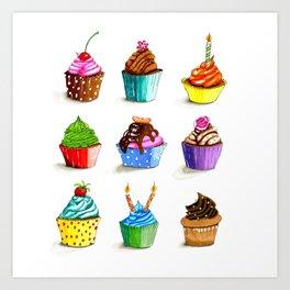 Illustration of tasty cupcakes Art Print