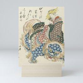 Courtisane riding on a shishi Mini Art Print