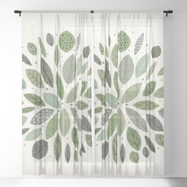 Mid-Century Green Leaves Sheer Curtain