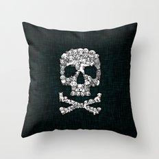 Skull Dogs Halloween Throw Pillow