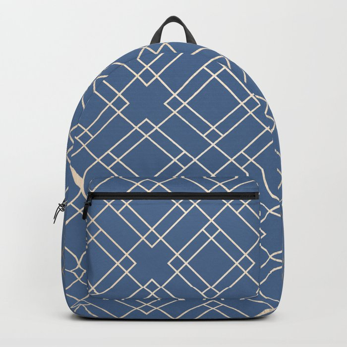 Simply Mid-Century in White Gold Sands on Aegean Blue Backpack