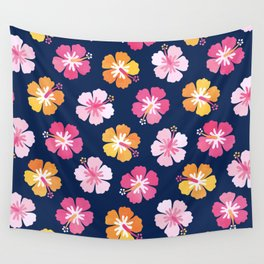 CANDY COLORED HIBISCUS on NAVY Wall Tapestry
