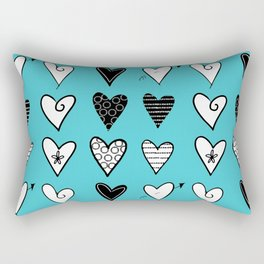 Baby Blue Heart Doodles Rectangular Pillow