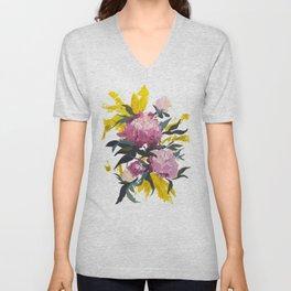 pivoine violette avec jaune Unisex V-Neck