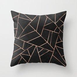 Velvet Black & Rose Gold Throw Pillow