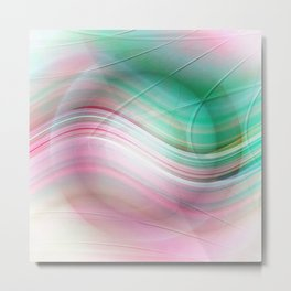 Abstract cricle green and pink Metal Print