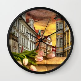 Looking Out At Prague by Liane Wright Wall Clock