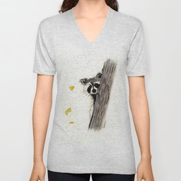 Rocky Raccoon - animal watercolor painting Unisex V-Neck
