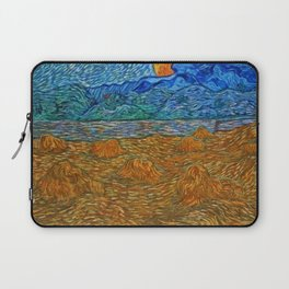Vincent van Gogh, Landscape with wheat sheaves and rising moon, Provence Alpes Côte d'Azur, France landscape painting  Laptop Sleeve