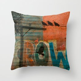Crow train Throw Pillow