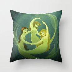Three Mermaids Throw Pillow