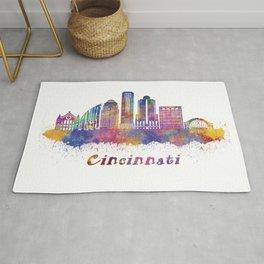 Cincinnati skyline in watercolor Rug