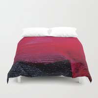 oil Duvet Covers featuring Red oil by Margheritta