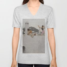 Classical Masterpiece Capri Girl on a Rooftop by John Singer Sargent Unisex V-Neck