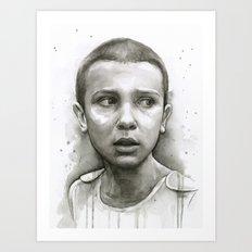 Stranger Things Eleven Portrait Upside Down Art Print