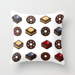 Mouth Watering Donuts and Cakelicious Throw Pillow