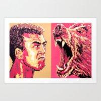 Ali vs. Kodiak Grizzly Bear Art Print