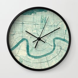 New Orleans Map Blue Vintage Wall Clock