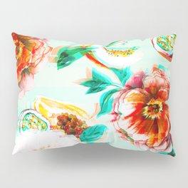 Tropical flowery fruit glitch Pillow Sham