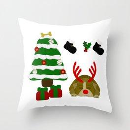 Christmas Sleeping Bulldog - Reindeer Under the Tree Throw Pillow