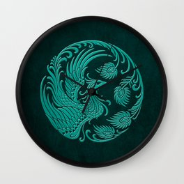 Traditional Teal Blue Chinese Phoenix Circle Wall Clock