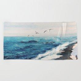 Watercolor Coast Beach Towel
