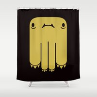 black and gold Shower Curtains featuring GOLD & BLACK by Mon Petit Monsu