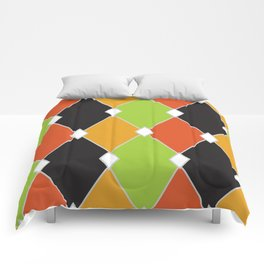 Orange, green and black jester diamonds Comforters