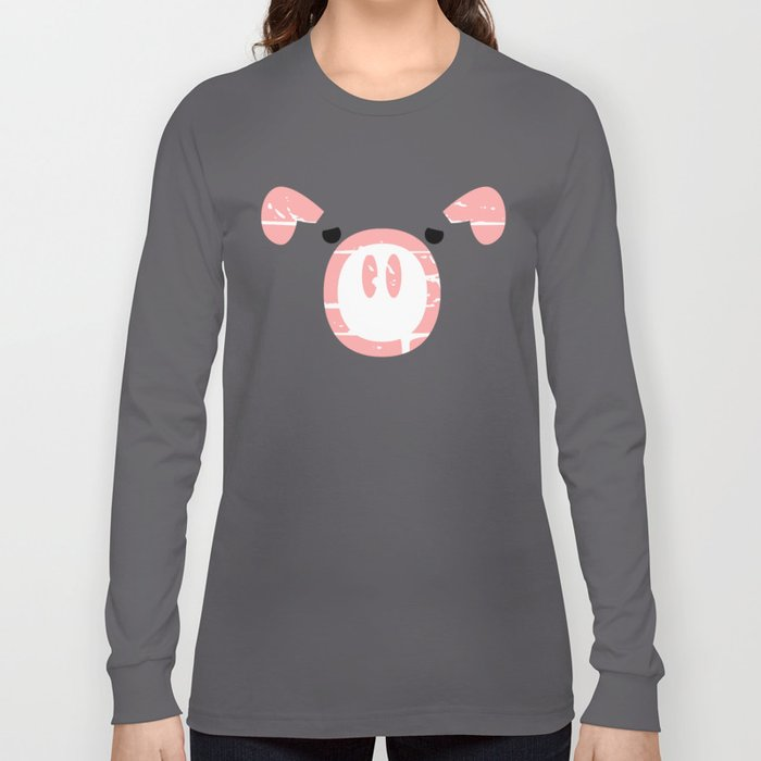Cute Pink Pig face Long Sleeve T-shirt