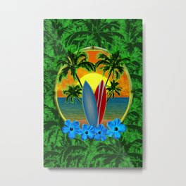 Sunset Surfboards And Palm Trees Metal Print