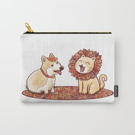 Corgi dog and a cat imitating lion with mane made of autumn leaves Carry-All Pouch