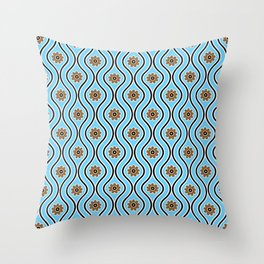 1970s Retro Vintage Blue Flower Power Pattern Throw Pillow