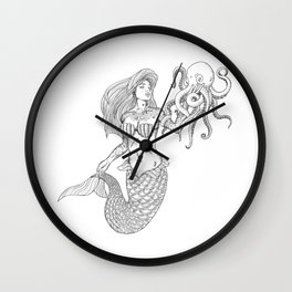 Mermaid (Nautical Collection) - Black Wall Clock