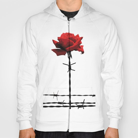 Barbed wire red rose Hoody
