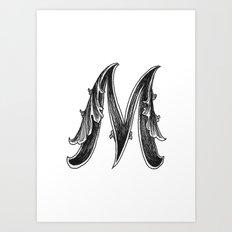 Leaf Script M Art Print