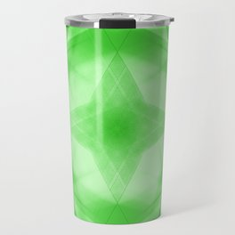 Vintage triangular strokes of intersecting sharp lines with pistachio triangles and a star. Travel Mug